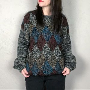 Vintage 1980s Hand Knit Oversized Sweater